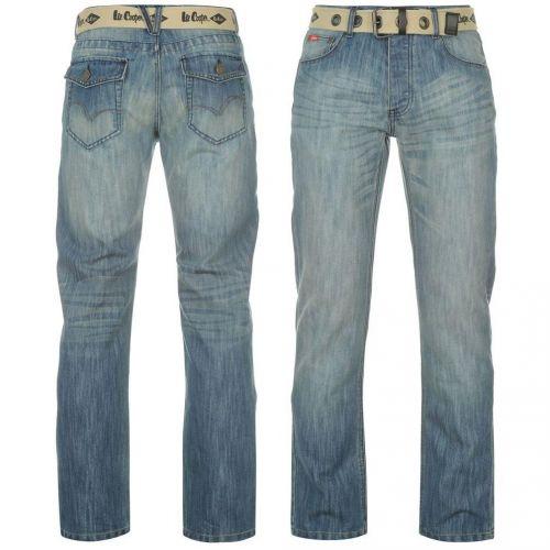 Lee Cooper Belted Jeans Mens Mid kalhoty