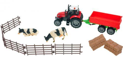 Mikro hračky Sada farma traktor s vlekem a doplňky