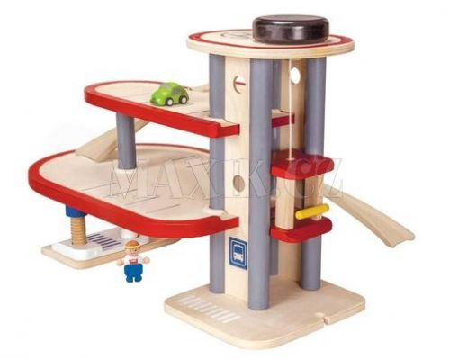 Plan Toys EKO dvoupatrová garáž včetně autíčka a panáčka