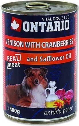 ONTARIO konzerva Venison, Cranberries, Safflower Oil 400 g