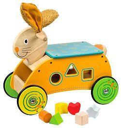Bigjigs Toys Dřevěný motorický vozík Zajíc odrážedlo