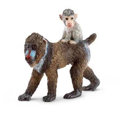 SCHLEICH Zvířátko samice Mandrill s mládětem na zádech cena od 145 Kč
