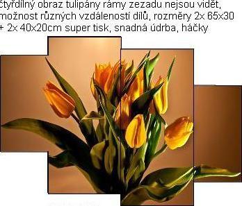 EVK tulipány čtyřdílný obraz