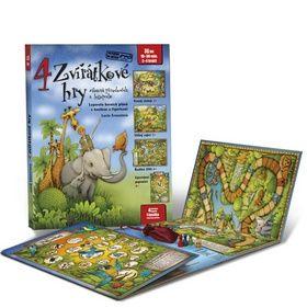 Lucie Ernestová: 4 zvířátkové hry - Leporelo herních plánů s kostkou a figurkami pro zábavné učení zvířátek a logopedie cena od 186 Kč