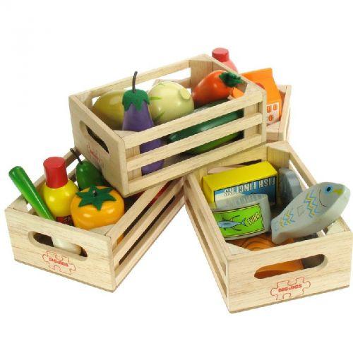 Bigjigs Toys Set dřevěných zdravých potravin