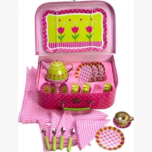 Bigjigs Toys Růžový kytičkový čajový set v kufříku cena od 0 Kč
