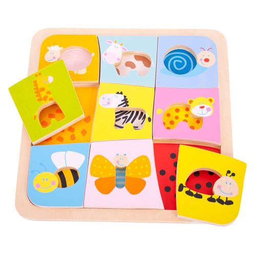 Bigjigs Toys Dřevěné vkládací puzzle 9 zvířátek cena od 229 Kč