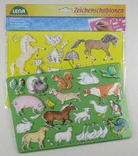 LENA Kreslící šablony koně, kočky 65767