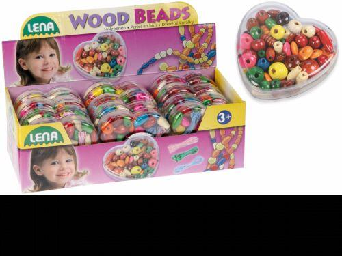 LENA Dřevěné perly v dóze srdíčko 32043 cena od 69 Kč