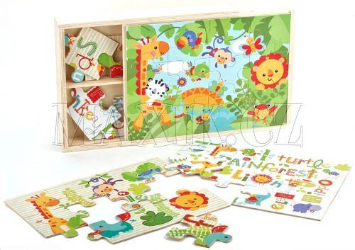 Fisher Price Dřevěné puzzle 3v1 cena od 0 Kč