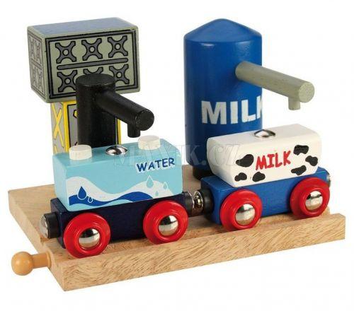 Bigjigs rail Skladiště mléka a vody + 2 vagonky