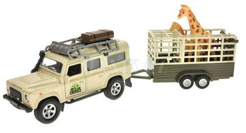 Teddies Land Rover Defender s přívěsem a žirafou 13 cm