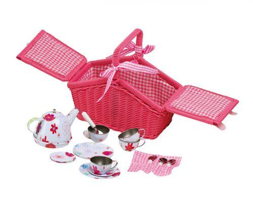 RaKonrad Piknikový růžový koš s nádobíčkem