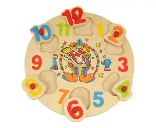 Bigjigs Dřevěné hodiny s klaunem cena od 0 Kč