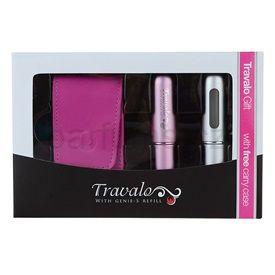 Travalo Refill Atomizer Excel dárková sada II. (Pink and Silver) plnitelný rozprašovač parfémů 2 x 5 ml + pouzdro 6,5 x 8,5 cm