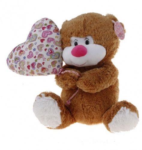 Alltoys Sedící medvídek s balónkem v designu srdíčka 30 cm cena od 201 Kč