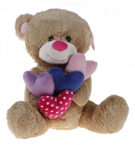 Alltoys Sedící medvídek držící srdíčka 38 cm cena od 0 Kč