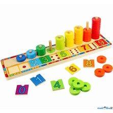Bigjigs Toys Počítání na desce s kroužky cena od 389 Kč