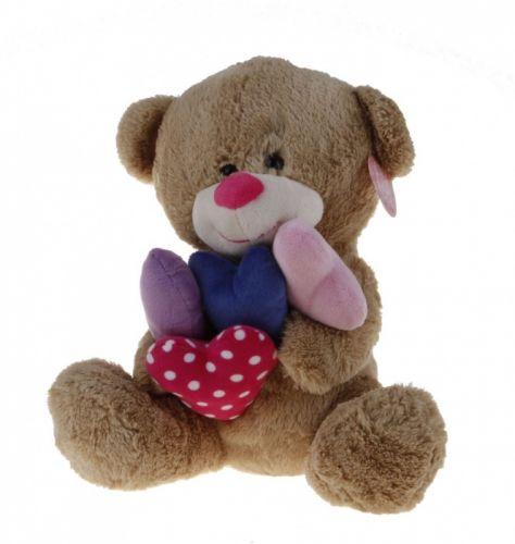 Alltoys Sedící medvídek držící srdíčka 30 cm cena od 0 Kč