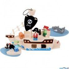 Bigjigs Toys Loď dřevěná Pirátská loď s figurkami