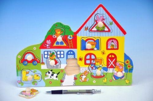 Mikro hračky Vkládačka dřevo domeček se zvířátky cena od 118 Kč