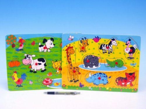 Mikro hračky Vkládačka dřevo zvířátka