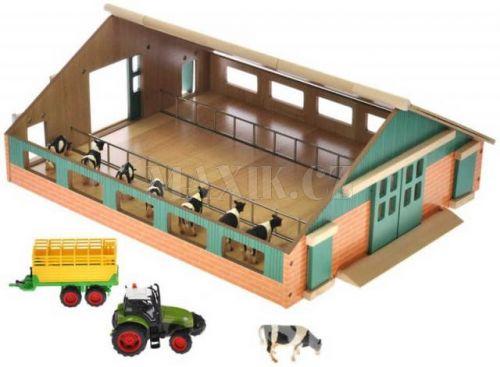 Teddies Sada malý farmář dřevěná farma 1:50 + traktor
