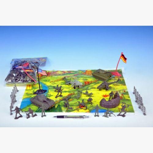 Mikro hračky Sada vojáci s mapou plast 2 vojska v sáčku cena od 0 Kč