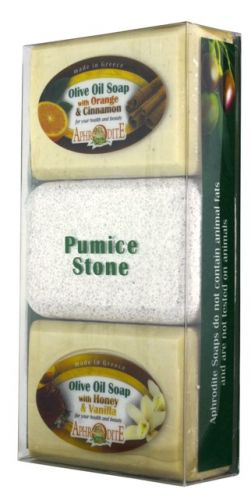 Aphrodite Skin Care Mýdlo olivové Pomeranč/skořice a Med/vanilka a Pemza 260 g