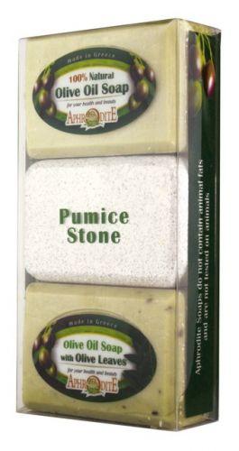 Aphrodite Skin Care Mýdlo olivové Olivy a Olivové listy a Pemza 260 g