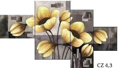 EVK malovaná květina obraz 4 díly