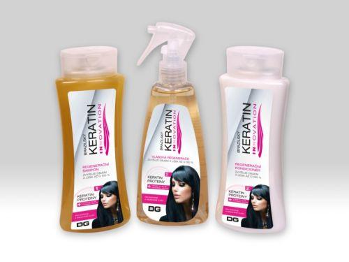 Beauty Lashes Brazilský keratin INNOVATION šampon 255 ml + kondicionér 255 ml + vlasová regenerace 260 ml