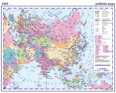 Asie-politická mapa cena od 27 Kč