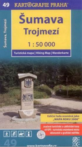 Šumava,trojmezí 49 turistická 1:50 000 cena od 64 Kč