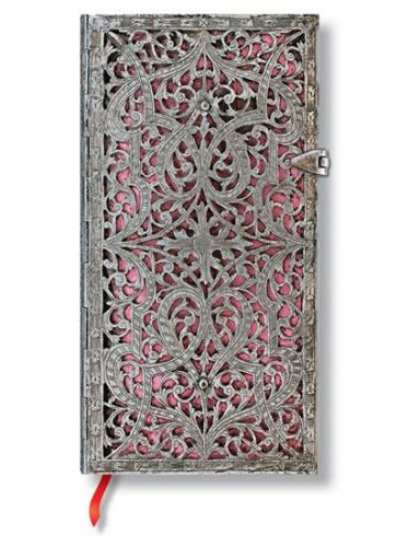 Zápisník - Blush Pink Silver Filigree, slim 90x180 Lined
