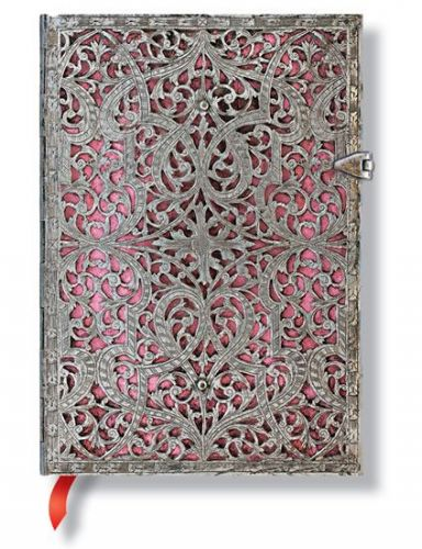 Zápisník - Blush Pink Silver Filigree, midi 120x170 Lined cena od 0 Kč