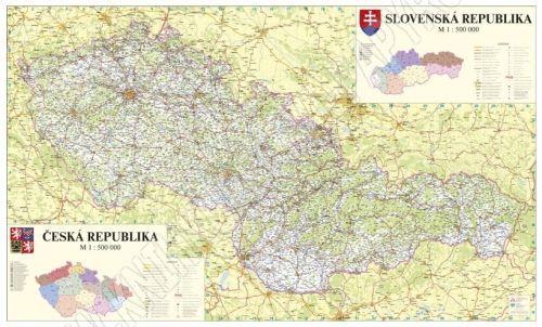 Nástěnná mapa - Česká a Slovenská republika - lamino