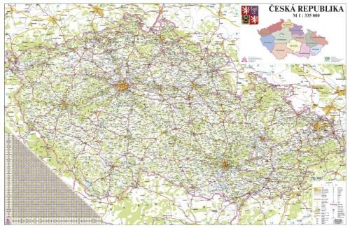 Nástěnná mapa - Česká republika 1:330 000 - lamino + lišty cena od 1090 Kč