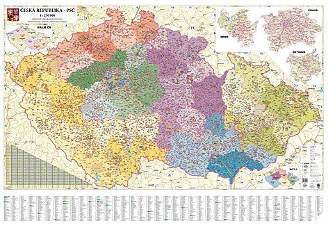 Nástěnná mapa - Česká republika PSČ obří - lamino + lišty cena od 1190 Kč