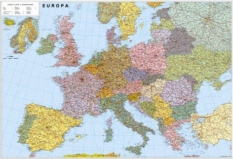 Nástěnná mapa - Evropa silniční velká - lamino + lišty cena od 1090 Kč