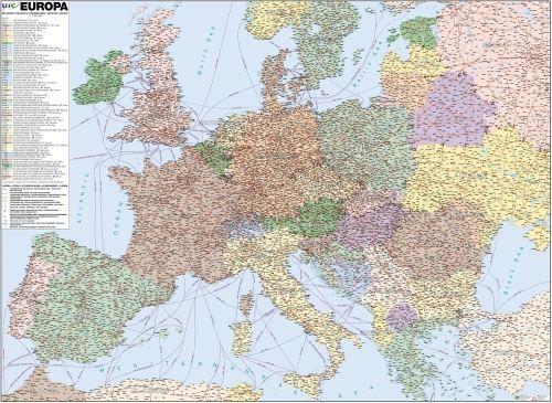 Nástěnná mapa - Evropa železniční - lamino cena od 595 Kč