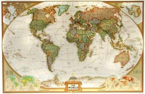 Nástěnná mapa - obří svět National Geographic - lamino + očka cena od 0 Kč