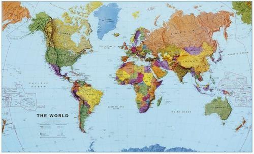 Nástěnná mapa - obří svět politický - rám cena od 6690 Kč