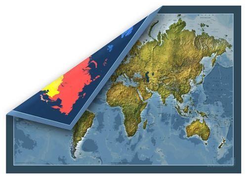 Nástěnná mapa - svět fyzický oboustranný - rám cena od 3990 Kč