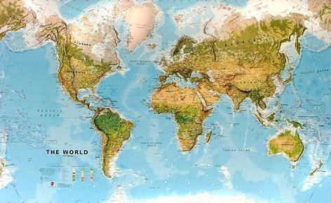 Nástěnná mapa - obří svět zeměpisný - rám cena od 6690 Kč