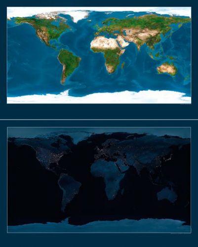 Nástěnná mapa - svět satelitní oboustranný - lamino cena od 990 Kč