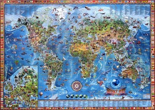 Nástěnná mapa - svět dětský - rám cena od 3490 Kč