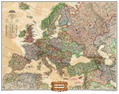 Nástěnná mapa - Evropa National Geographic - lamino cena od 990 Kč
