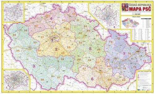 Nástěnná mapa - Česká republika PSČ - rám cena od 2490 Kč