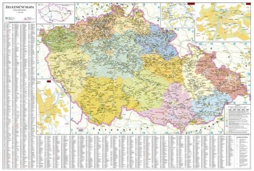 Nástěnná mapa - Česká republika železniční - rám cena od 2490 Kč